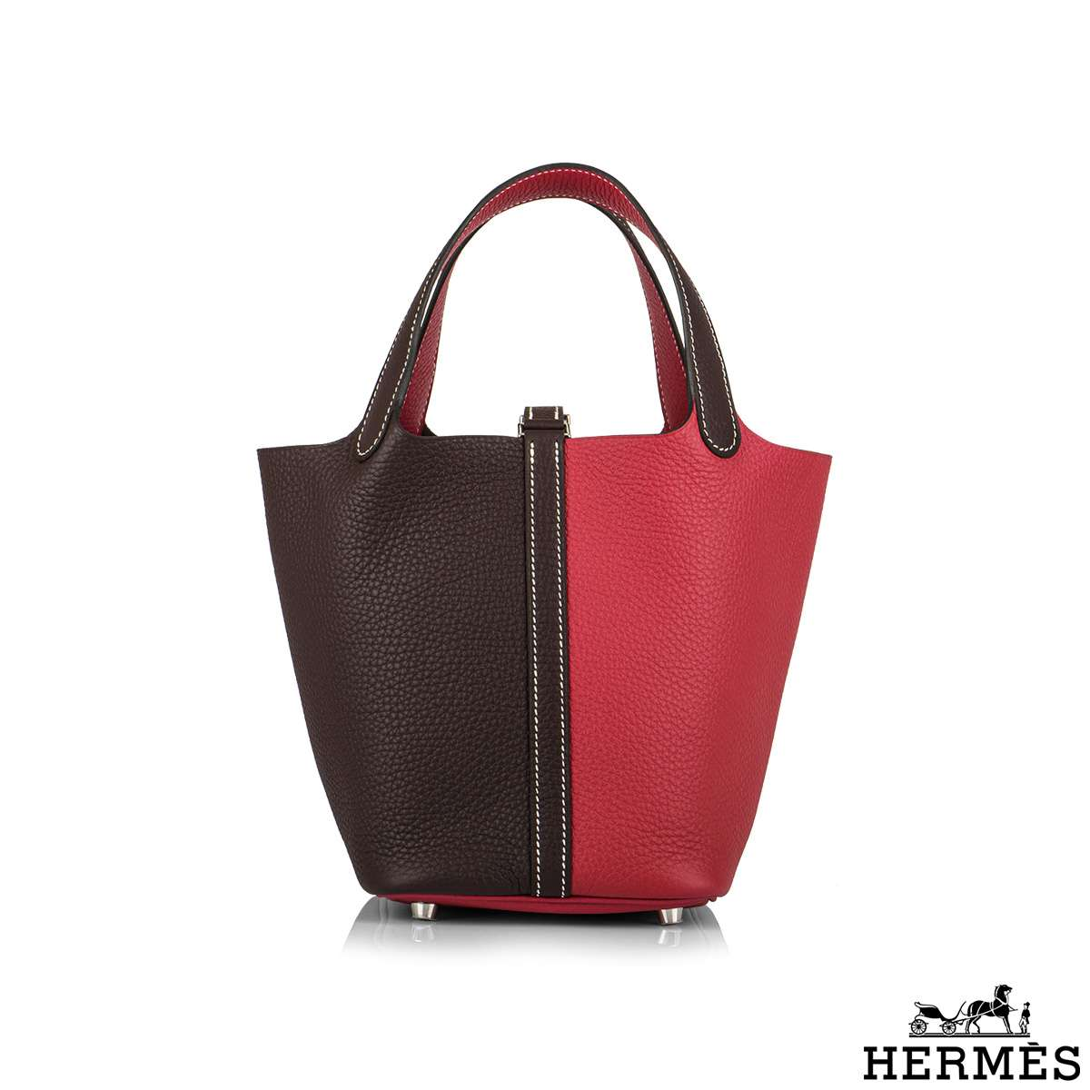 Hermès Bi-Color Rose Mexico  and Plume Clemence Picotin Lock 18cm PHW